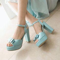 Pastel Pairs - Bow Ankle Strap Platform Sandal Pumps