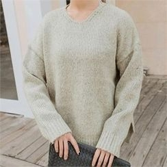 JOAMOM - Drop-Shoulder Slit-Side Knit Top