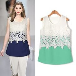 ifzen - Sleeveless Crochet-Detail Top