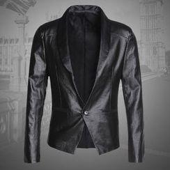 Mannmix - Faux Leather Blazer