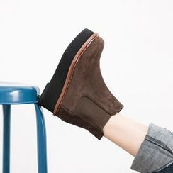 VIVIER - Faux-Suede Platform Ankle Boots