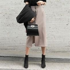 LIPHOP - Slit-Front A-Line Midi Skirt