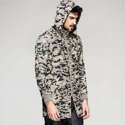 Quincy King - Hooded Camo Long Jacket