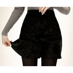 Marlangrouge - Ruffle-Hem Velvet Mini Skirt