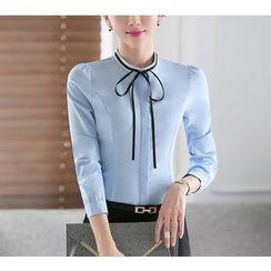 Brightful - Fleece Lined Band Collar Long-Sleeve Shirt