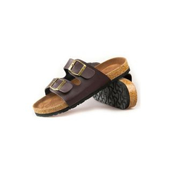 Rememberclick - Faux-Leather Buckled-Strap Slippers