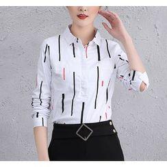 Brightful - Printed Half-Placket Long-Sleeve Shirt