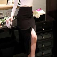 Aurora - 纯色前开衩铅笔短裙