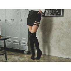 UUZONE - Buckled Cutout-Hem Mini Skirt