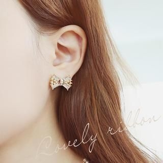 soo n soo - Crystal Bow Earrings