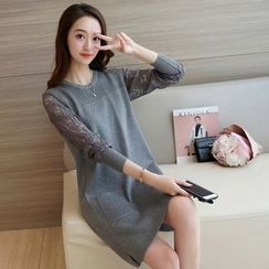 lilygirl - Long-Sleeve Lace Panel Knit Dress