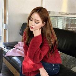 QNIGIRLS - Round-Neck Furry-Knit Sweater