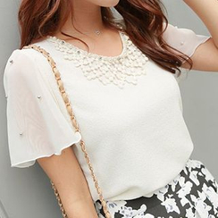 CLICK - Beaded Chiffon Short-Sleeve Top