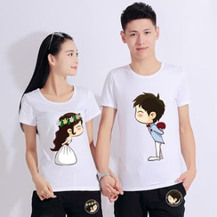 Matcha House - Couple Matching Cartoon Print Short-Sleeve T-Shirt / Shorts