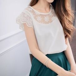 Tokyo Fashion - Short-Sleeve Lace-Trim Top
