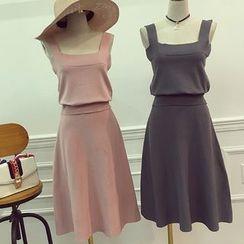 Octavia - Set: Knitted Sleeveless Top + Midi A-Line Skirt