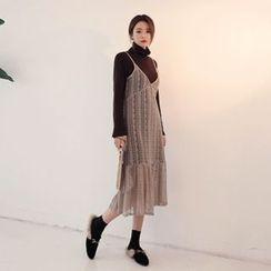 DABAGIRL - Set: Spaghetti-Strap Long Lace Dress + Mock-Neck Shift Dress