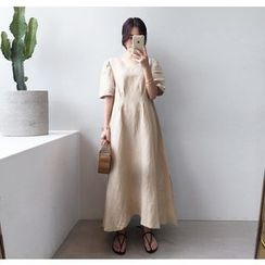 Miamasvin - Short-Sleeve Linen Blend A-Line Maxi Dress
