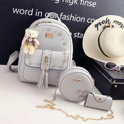 Carreur - Set : Studded Faux Leather Backpack + Shoulder Bag + Coin Purse