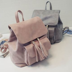 Devant - Tasseled Faux Leather Backpack
