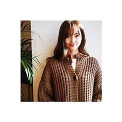 CHERRYKOKO - Button-Down Oversized Chunky-Knit Cardigan