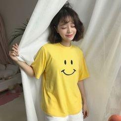 Eva Fashion - 笑脸刺绣短袖T裇