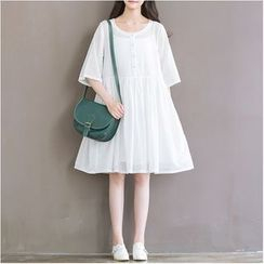 Snow Flower - Elbow-Sleeve Pleated Dress