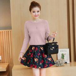 Rosehedge - Set: Applique Scallop Hem Sweater + Floral Print Skirt