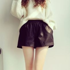 Mida - Faux Leather Fleece-lined Shorts