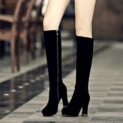Shoes Galore - Chunky Heel Tall Boots
