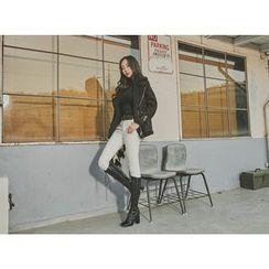 UUZONE - Brushed-Fleece Skinny Pants