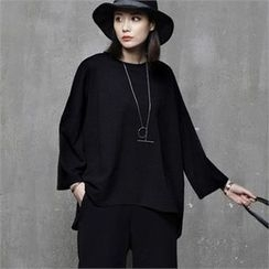 HALUMAYBE - Cropped-Sleeve Boxy-Fit Top