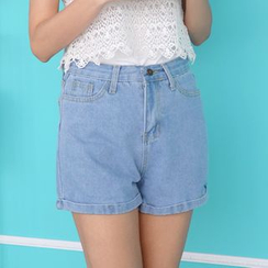 Octavia - 高腰水洗牛仔短褲