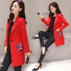 Ekim - Applique Notch Lapel Long Coat