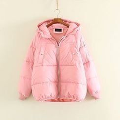 Mushi - Plain Padded Hooded Coat