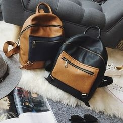 Secret Garden - Faux Leather Color Block Backpack