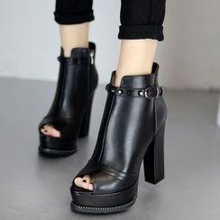 Forkix Boots - Block Heel Platform Peep Toe Ankle Boots