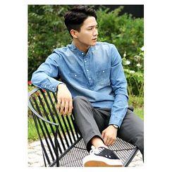 HOTBOOM - Mandarin-Collar Half-Placket Denim Shirt