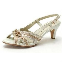 MODELSIS - Genuine Sheepskin Rhinestone Sandals