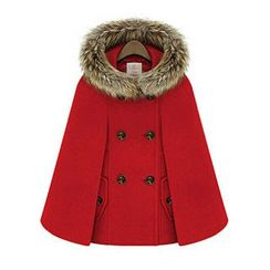 AGA - Double-breasted Faux Fur Trim Woolen Jacket