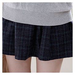 Sechuna - Band-Waist Plaid Skirt