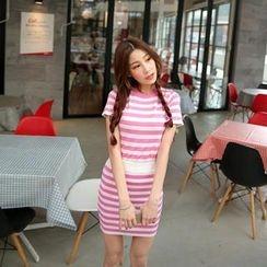 Cherryville - Set: Short Sleeve Striped Knit Top + Striped Knit Skirt