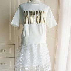 City of Angels - Set: Lettering Short-Sleeve Top + A-Line Organza Skirt