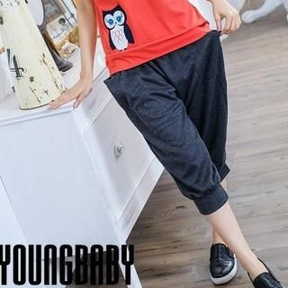 YoungBaby - Striped-Panel Cropped Sweatpants