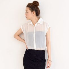 SO Central - Cap Sleeve Chiffon Blouse