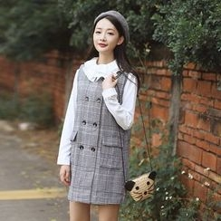 sansweet - Plaid Double-Breasted Pinafore Dress