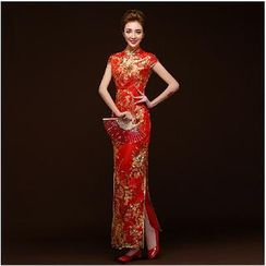 Posh Bride - Cap-Sleeve Embroidered Wedding Cheongsam (2 Designs)