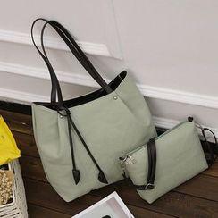 Diamante - Set of 2: Faux Leather Tote + Crossbody Bag