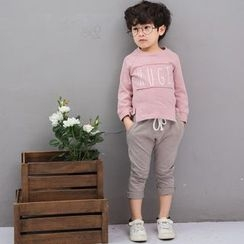 Youtale - Kids Set: Lettering Long-Sleeve T-Shirt + Cropped Sweatpants