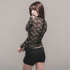 clubber - Turtle-Neck Sheer Lace T-Shirt